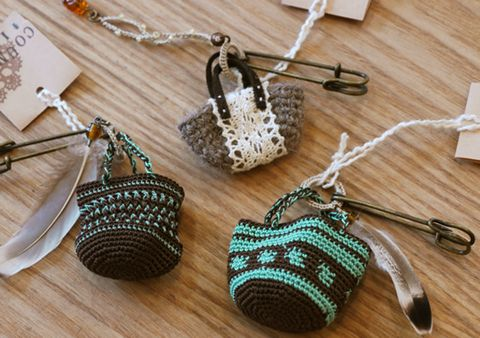 crochet mini bag charm