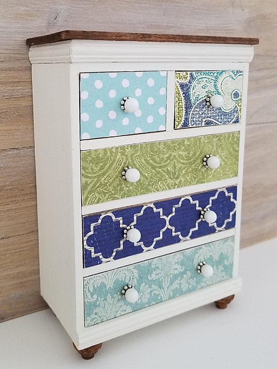 A Beautiful Colorful Miniature Dresser Painted White With A Walnut Stained Top And Feet Drawe Diy Dollhouse Furniture Dollhouse Furniture Handmade Furniture
