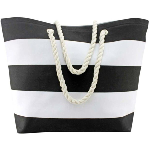Black & White Wide Stripe Deluxe Oversize Beach Tote Bag ($27) ❤ liked on Polyvore featuring bags, handbags, tote bags, black, fashion bags, totes, oversized beach bags, beach bag tote, weekend bag and handbag purse