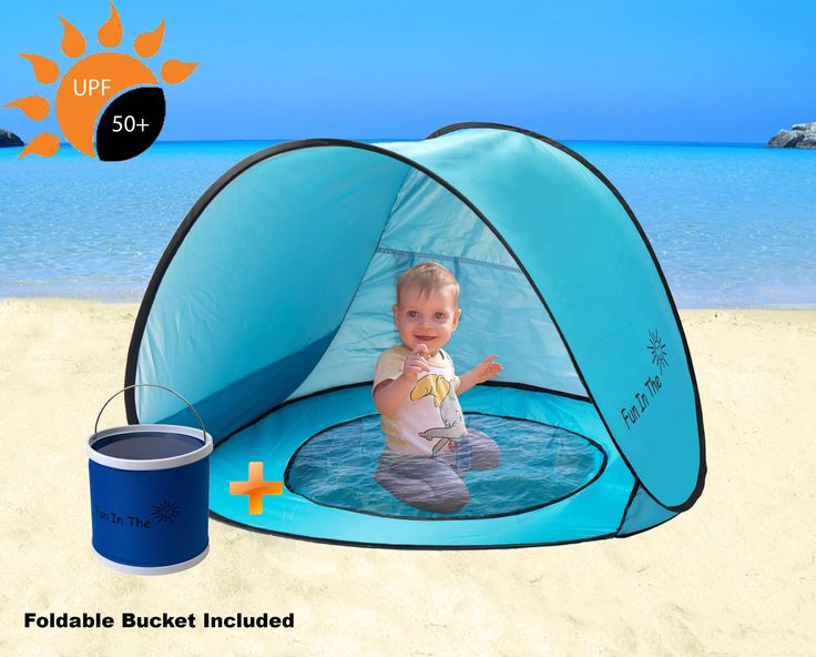 Pop Up Tent by Fun In The Sun | Portable Baby Beach Tent with Shaded Pool And Foldable Water Bucket Set | 50+ UPF UV Protection. Perfect For Toddlers And Kids Under 3 Years. ⛅ KEEP YOU BABY SAFE IN THE SHADE: Are you going to the beach with your family? Don't forget to get the pop-up baby tent with you to keep your baby's sensitive skin safe from the harmful UV rays. The lightweight baby beach tent offers UPF 50+ protection from the sun, while the fold-able pool base will keep your baby…