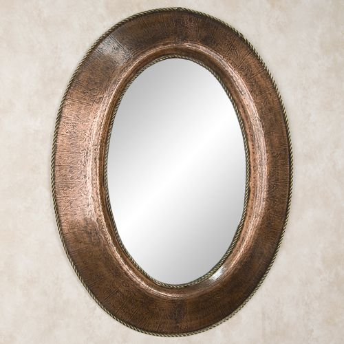 Oval Lightly Hammered Copper Mirror With Braided Brass Accents Powder