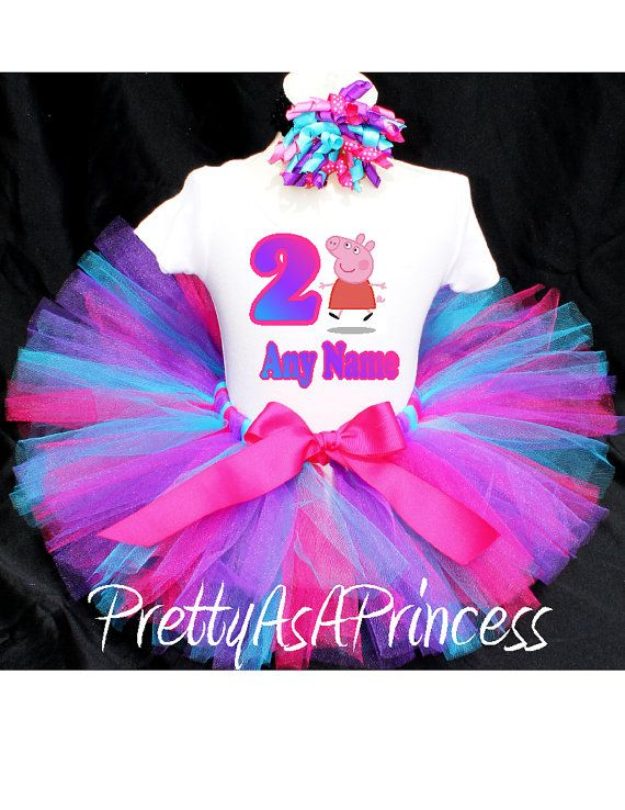 86a1a9432 Peppa Pig Tutu Birthday Outfit Costume by PrettyAsAPrincess2, $24.99 |  Projects to Try | Frog birthday party, Birthday Tutu, Tutu outfits