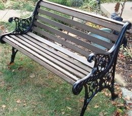 Make a old bench look new again - restoring a wrought iron garden bench. (This is like our bench and it is in need of restoring.)