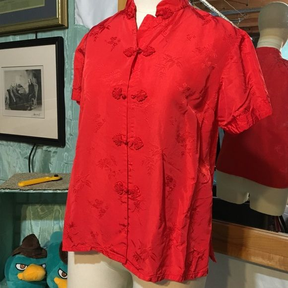 Gorgeous red Chinese blouse Size is marked Large but runs small. I would size a med size 4/6 Health Tops Blouses