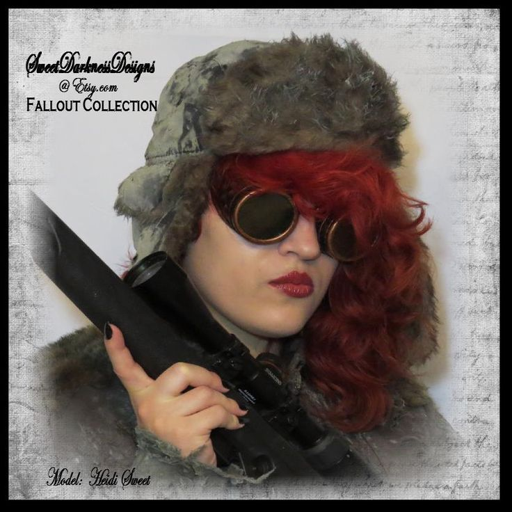 Post Apocalyptic Hat Fallout FUR Cap ARMY GREEN Aviator Bomber Cap Wasteland Grunge Vintage Army Mad Max Clothing by SweetDarknessDesigns by SweetDarknessDesigns on Etsy