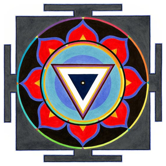 Yantras are an instrument of geometrical design used in meditation and worship as a way of connecting oneself with energy of the Divine. They are a symbolic representation of a deity or cosmic force unbound of their physical form, each having their own unique configuration. Call on