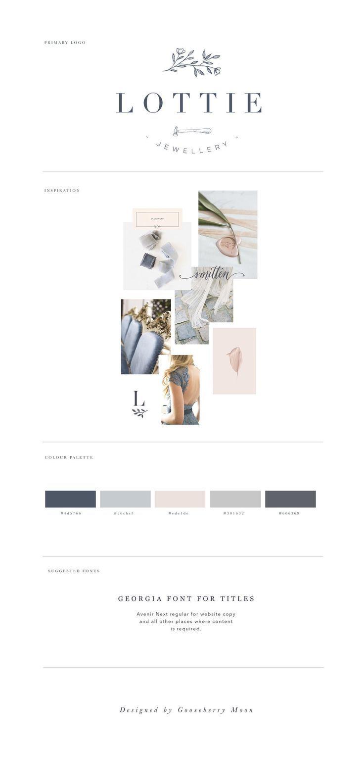 Lottie Jewellery Brand Board Modern And Feminine Logo Design And
