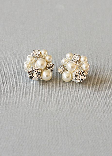pearl & diamond cluster earrings oh how I love these!