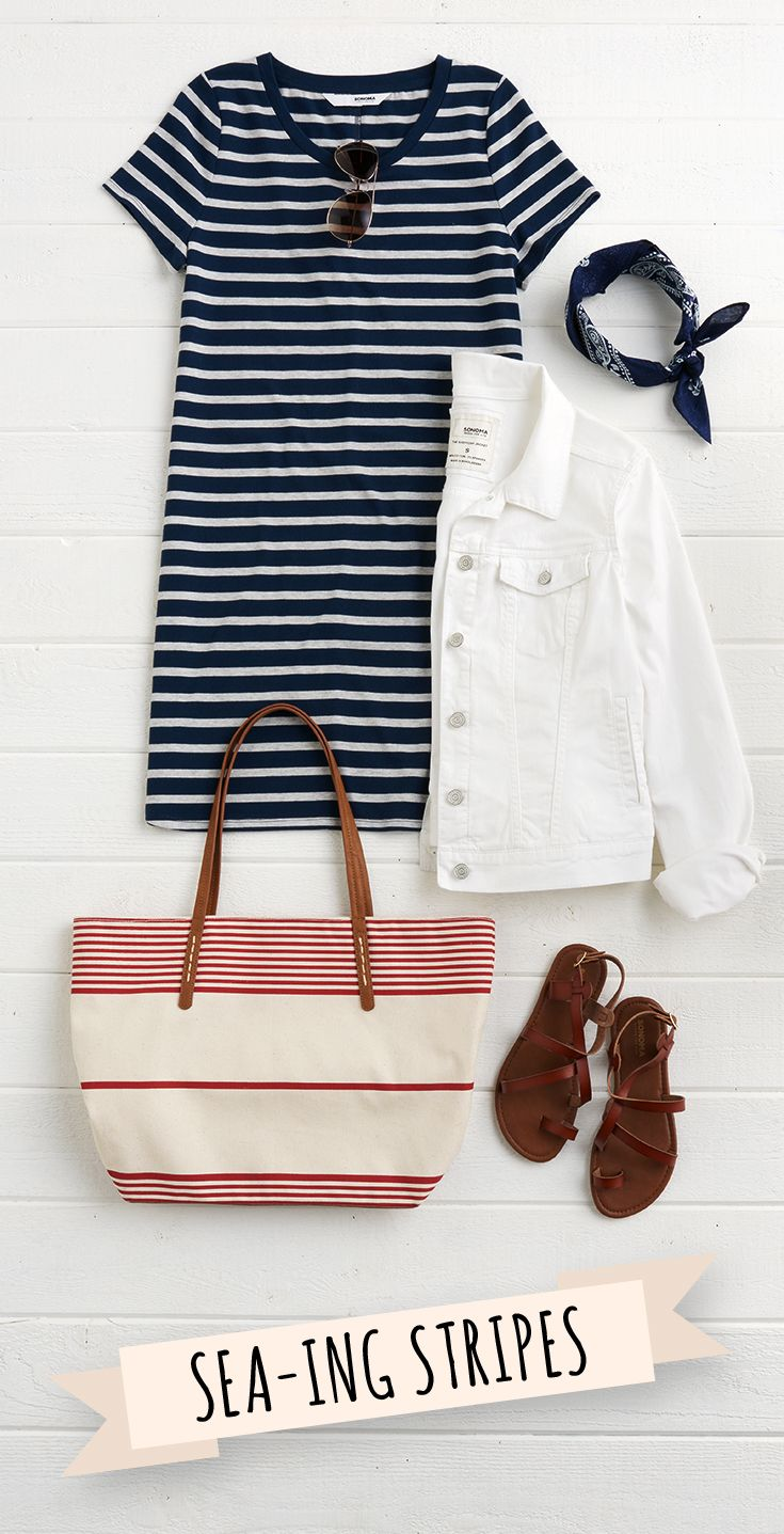 Stripes are always a good idea. Pair a stripey dress and tote with a crisp little jean jacket in white. It's a nautical look done right! Find this look and more from SONOMA Goods for Life, only at Kohl's.