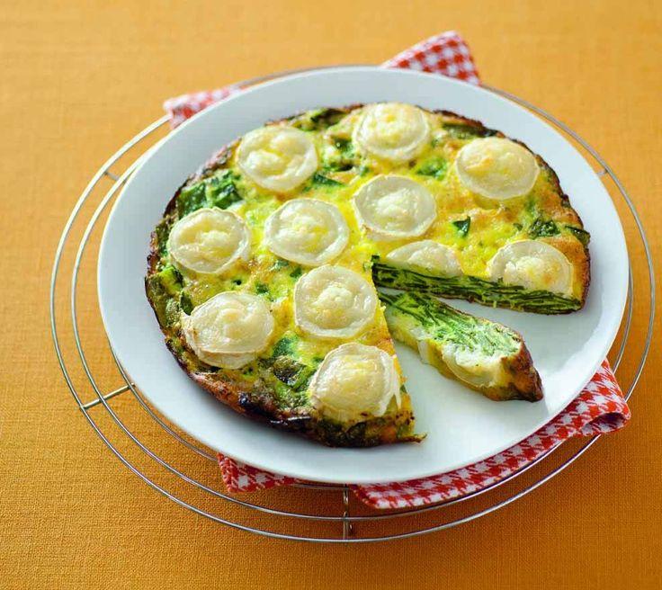 Frittata al forno con taccole e formaggio di capra
