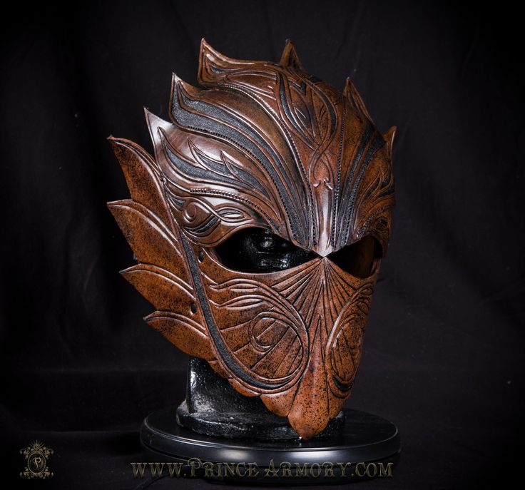 Elven Rogue Leather Helmet by Azmal elf ranger helm mask equipment gear magic item | Create your own roleplaying game material w/ RPG Bard: www.rpgbard.com | Writing inspiration for Dungeons and Dragons DND D&D Pathfinder PFRPG Warhammer 40k Star Wars Shadowrun Call of Cthulhu Lord of the Rings LoTR + d20 fantasy science fiction scifi horror design | Not Trusty Sword art: click artwork for source
