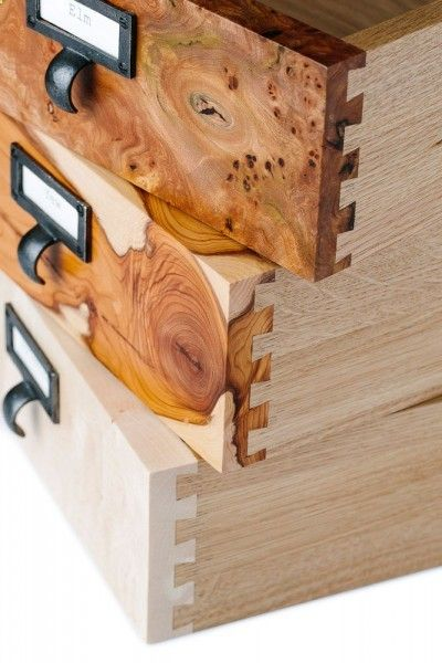 A close up shot of how our dovetail joints fit together.