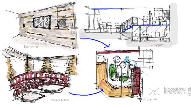 Croquis de concepto para zona privada de #restaurante #Satélite, #ideas fluyendo.  #diseño #design #restaurant #laboratoriointerfases