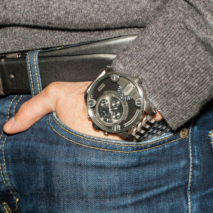 Diesel mens black dial steel analog Chronograph quartz watches DZ7259 #Diesel #Watches #wristwatch