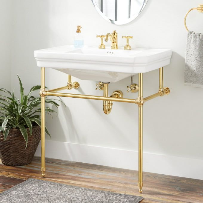 Kacy Porcelain Console Sink With Brass Stand Console Sinks