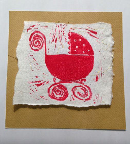 Lino printed Pink Pram New Baby Card £2.00