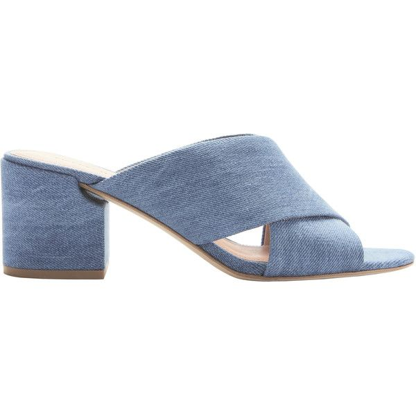 Rhoda Denim Sandals (€230) ❤ liked on Polyvore featuring shoes, sandals, denim, high heel shoes, open toe sandals, strappy high heel sandals, blue block heel sandals and cut out sandals
