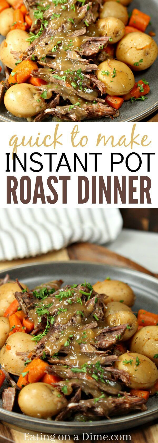 This Instant Pot Roast Dinner Recipe is amazing! It is truly the best Pressure Cooker Pot Roast Dinner recipe. The gravy is so delicious. You will see why it's the Best Pot Roast Recipe for the Instant Pot. The veggies are packed with flavor! Yum!