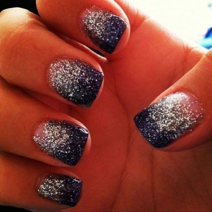 Ombre Glitter Nail Designs My Style Pinterest Silver Nail