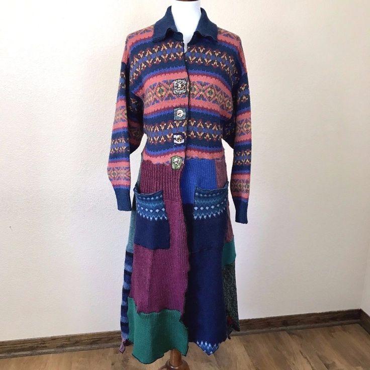 Grau OOAK Sweater Coat Eclectic Wearable Art Deconstructed Collage Duster  #TheGrauHaus #SweatercoatBohemianBohoEclecticHippie