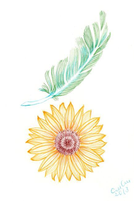 「ボールペン植物画  ひまわりの季節」