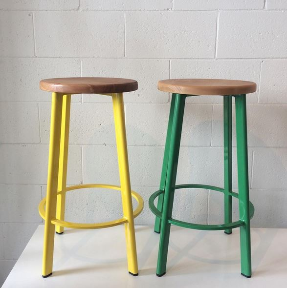 Replica Deja-vu Counter Stool with Wood Top in Yellow and Green