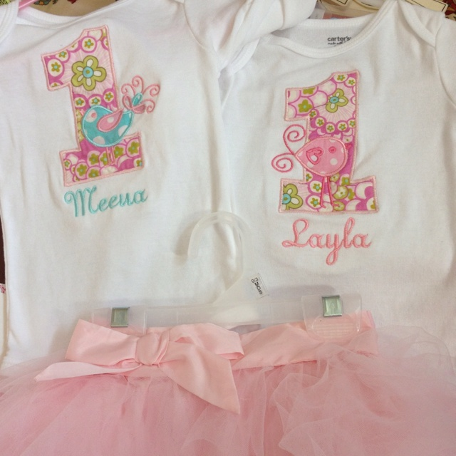 Sugar and Spice 1st Birthday Monogram twinsy twin girls twinsie