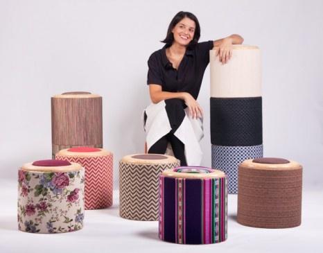 POMADA banquitos apilables realizados con bobinas de cartón y tapas recuperadas de la industria papelera.