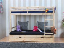 Thuka Kids køyeseng med 3 sove plass furu natur ubehandlet inkl. 2 ribbebunn, 2 skuff og 2 stofflommer.