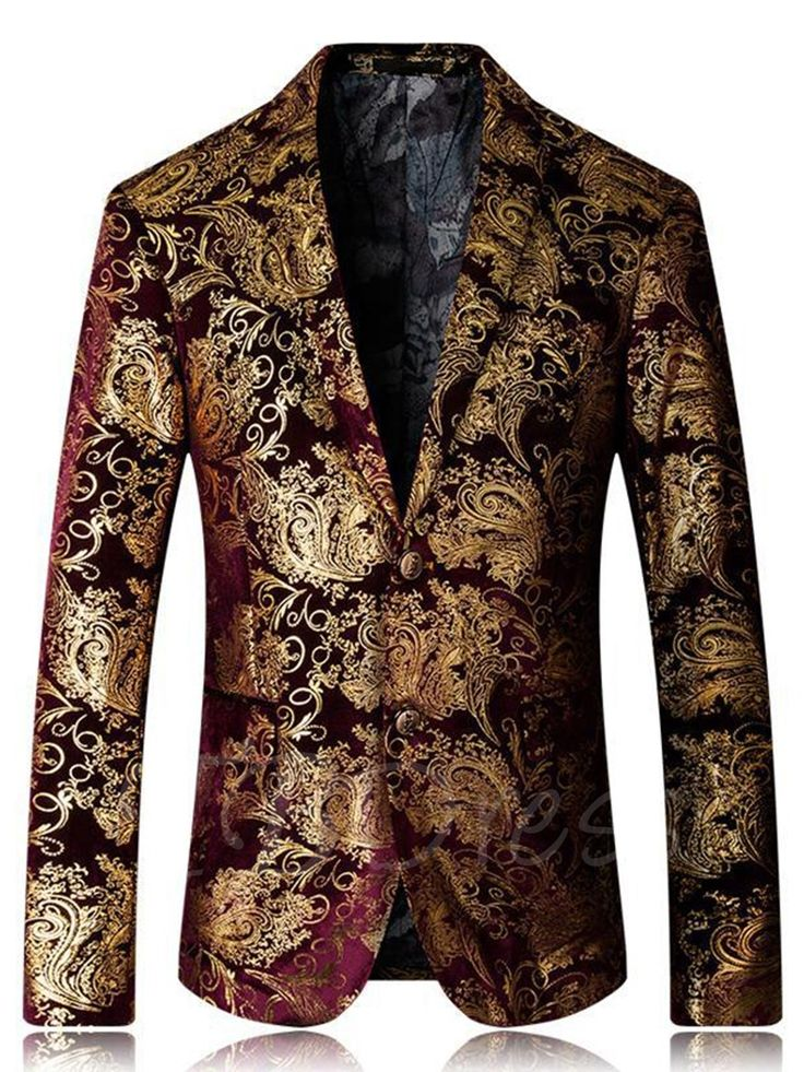 Tbdress.com offers high quality Notched Collar One Button Floral Print Men's Blazer Men's Blazers unit price of $ 64.99.