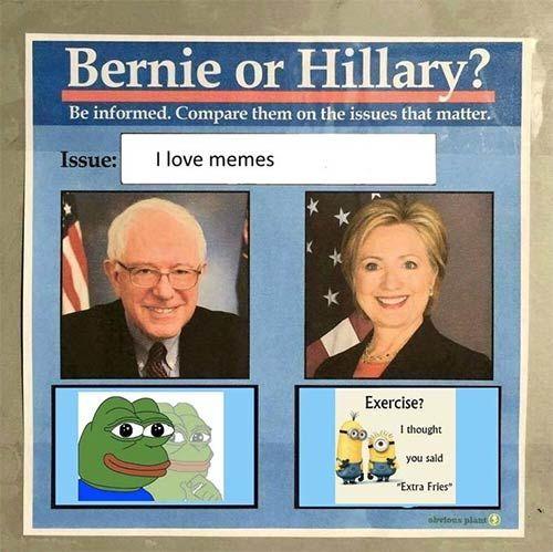 bernie hillary pepe meme