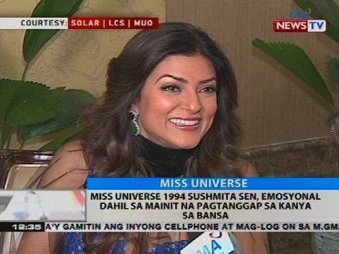 Miss Universe 1994 Sushmita Sen, emosyonal dahil sa mainit na pagtanggap sa kanya sa bansa - WATCH VIDEO HERE -> http://philippinesonline.info/entertainment/miss-universe-1994-sushmita-sen-emosyonal-dahil-sa-mainit-na-pagtanggap-sa-kanya-sa-bansa/   Subscribe to the GMA News and Public Affairs channel:  Visit the GMA News and Public Affairs Portal:  Connect with us on: Facebook: Twitter:  News video courtesy of YouTube channel owner