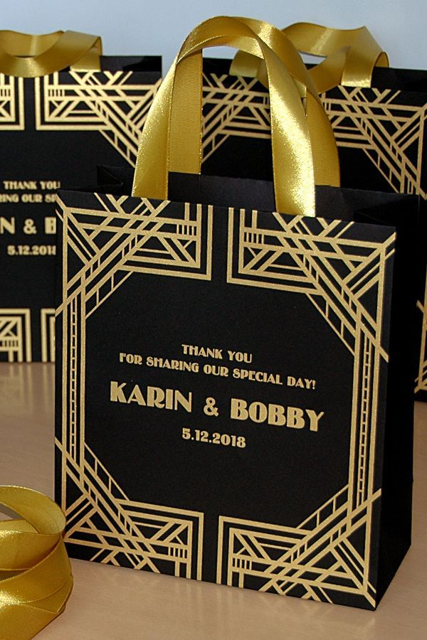 Gatsby Style Wedding Welcome Bags With Gold Satin Ribbon Handles