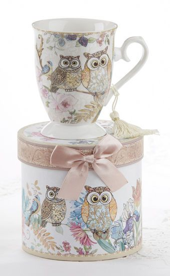 Don't miss out on the simple elegance of these classic Owls.  This tall porcelain mug is the perfect thank you or I'm thinking of you gift.  It also comes with a beautiful round gift box that can be used for storage and display.  No gift wrap needed. Made of Porcelain. 4.6″ Tall Mug.