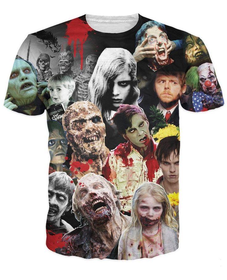 Zombie T-Shirt Shaun Dawn TWD Thriller Evil Dead Warm Bodies horror S-5XL