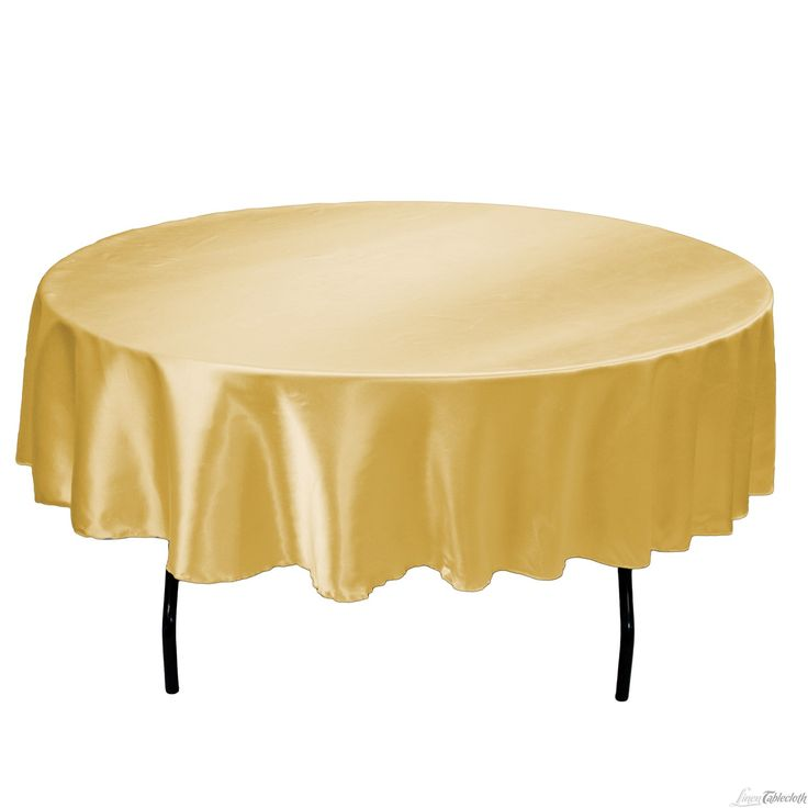Buy 90 Inch Round Gold Satin Tablecloth For Weddings At LinenTablecloth!  Seamless And Machine Washable