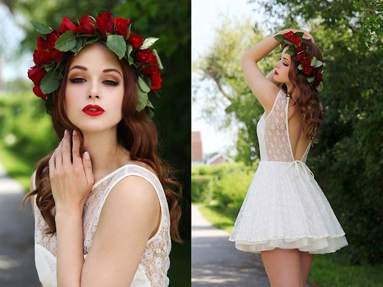Jones And Jones White Lace Dress, Homemade Flower Crown