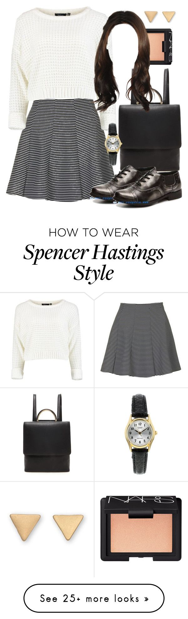 """Spencer Hastings inspired outfit with requested shoes"" by liarsstyle on Polyvore featuring Topshop, Forever 21, NARS Cosmetics, school, college and mid"