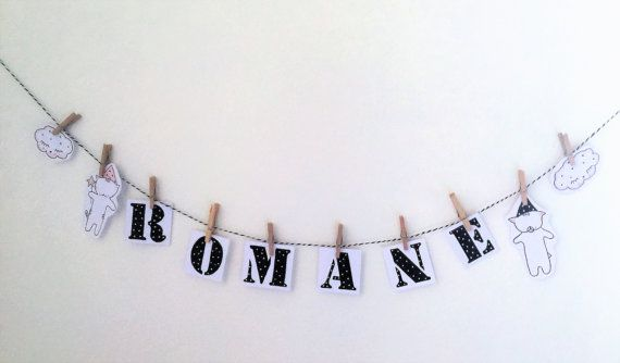 """l perfect for decorating a room - Brandon and Michou name illustration - garland."" Garland ""handmade 1.5 euros the letter"""