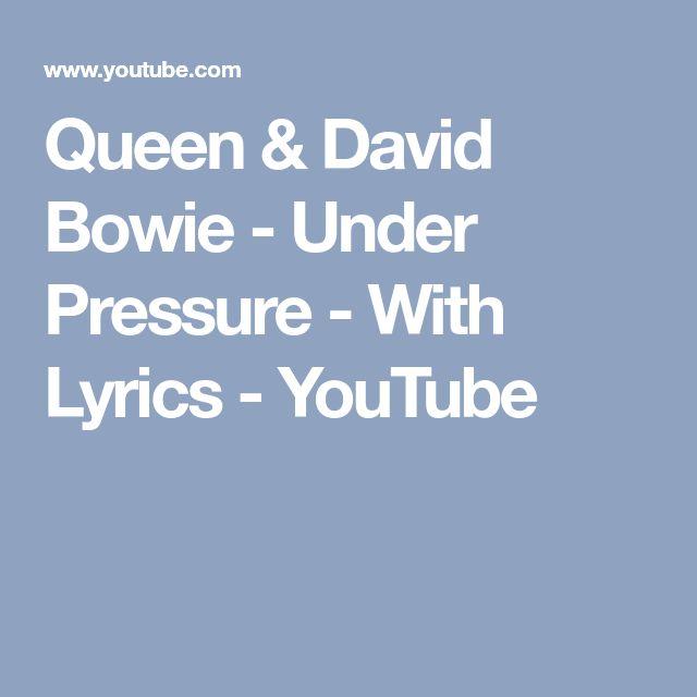 Queen & David Bowie - Under Pressure - With Lyrics - YouTube