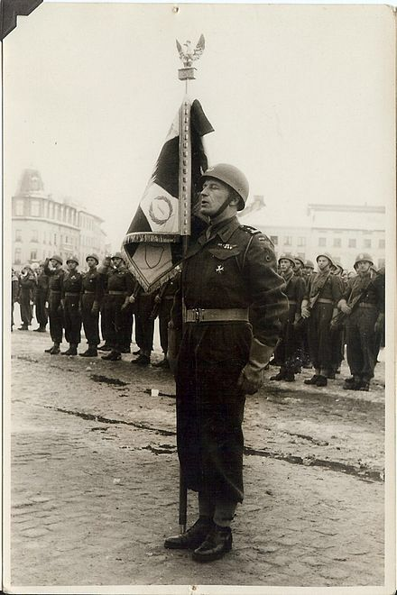 LtCol Aleksander Stefanowicz, Commander of the 1st Polish Armoured Regiment, after receiving the Regimental Colours at St Nicolas, Belgium on 3 March 1946.
