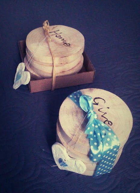 Podkładki pod kubeczki z napisami /  Wooden cup pads