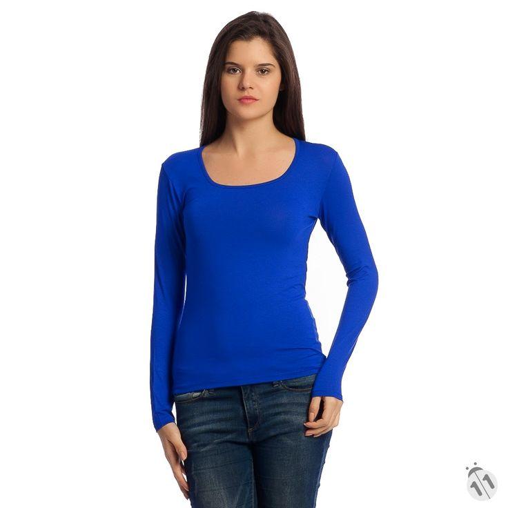 saks mavisi kadın tişört uzun kollu basic