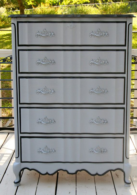 Custom Painted Made to Order French Provincial by TraceysFancy, $840.00    Furniture Dresser vintage chest of drawer tbellion grey purple black