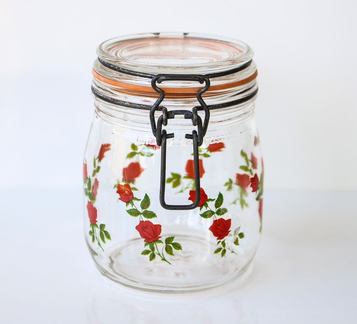 Excited to share the latest addition to my #etsy shop: Vintage Rose Glass Canister / French Arcoroc Glass Rose Garland Storage Jar / Vintage Glass Kitchen Storage Jar Red Roses / Glass Canister http://etsy.me/2C08q1h