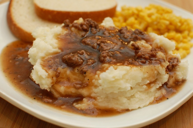 Hamburger Gravy & Mashed Potatoes; I dice celery and carrots in with meat