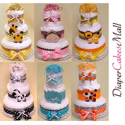 Baby Shower Decoration Diaper Cake Jungle Lion Pampers Baby