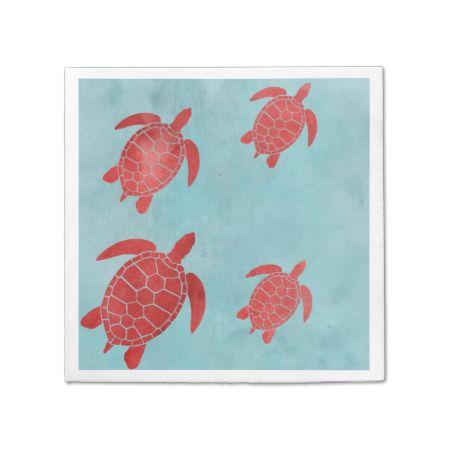 Red and Blue Green Sea Turtle Disposable Serviettes