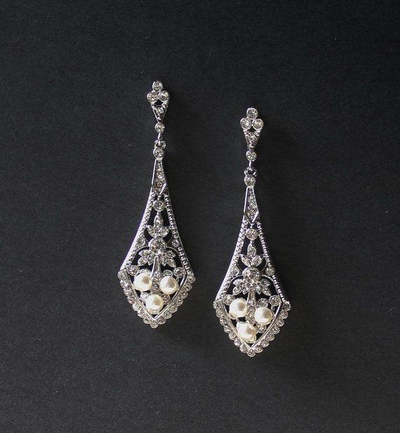 Bridal Chandelier Earrings, Art  Deco Style Bridal Earrings, Crystal Earrings, Bridal Accessories, Wedding Jewelry, EMILY