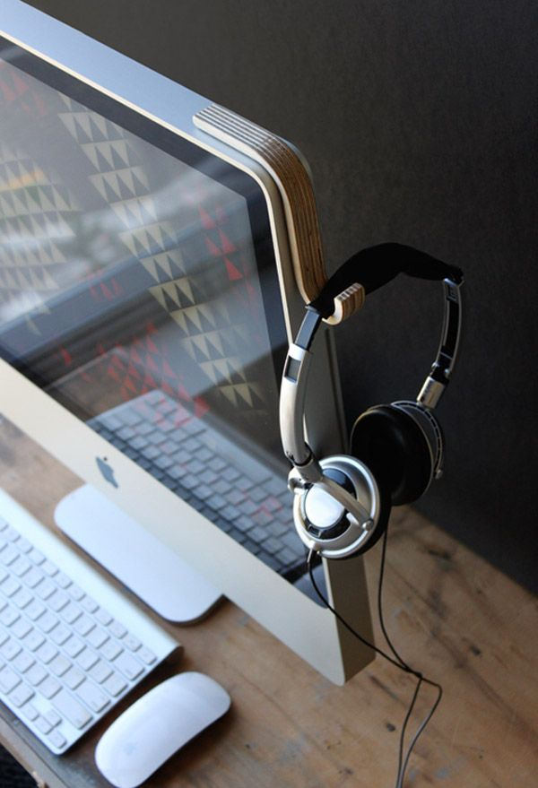 Cool way to hang your headphones on your monitor when you're not using them.